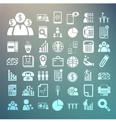Business icons and finance icons set on retina bac vector