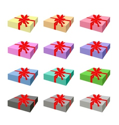Set of Lovely Gift Box with Red Ribbon vector image