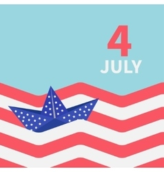 Paper boat with stars striped ocean 4th of july vector