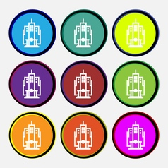 Skyscraper icon sign nine multi colored round vector