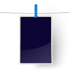 Photo frame hanging on a line vector image