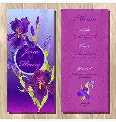 Iris flower wedding menu card printable vector