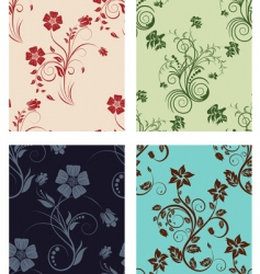 Set of color flowers backgrounds vector