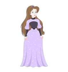 Beautiful brunette princess in womanly lilac dress vector