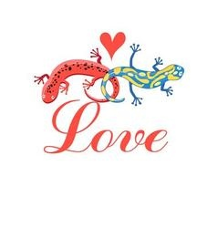 Graphic beautiful lovers salamanders on a white vector