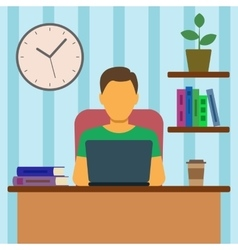 Man working at home vector