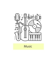 Modern thin line icons music vector
