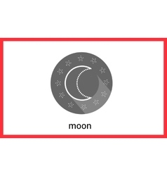 Moon contour outline icon vector