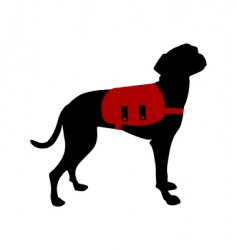 Dog with rucksack vector