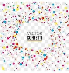 Colorful confetti on transparent square background vector