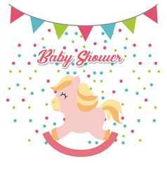 Baby shower invitation cute toy vector
