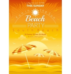 Beach party background with umbrellas vector