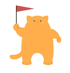 Cat and a flag vector