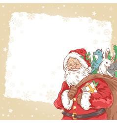 Christmas Santa Claus vintage postcard vector image vector image