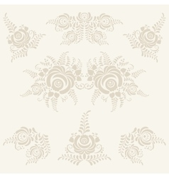 Floral elements in gzhel style vector