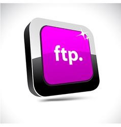 Ftp 3d square button vector