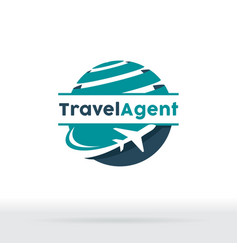 Jet aircraft with globe symbol for travel agency vector