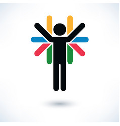 Logotype people color man figure with many hands vector