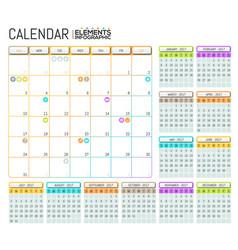 Modern calendar 2017 template design with place vector