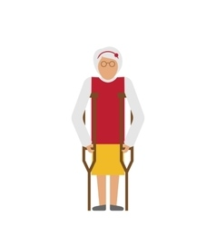 Older woman with crutches disability elderly vector