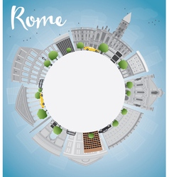 Rome skyline with grey landmarks and copy space vector