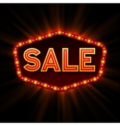 Sale retro light frame vector image vector image