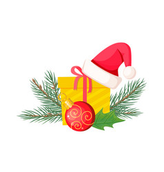 santa hat on giftbox near evergreen christmas tree vector image vector image