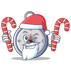 santa with candy compass character cartoon style vector image