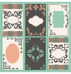 Set cards arabesque ornament frameworks vector image