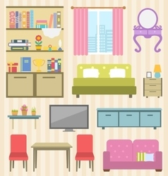 Set of Colorful Furniture of Room for Your vector image