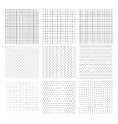 Set of nine gray geometric grids vector image