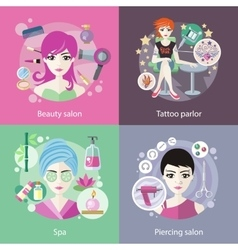 Set of Salons Beauty Tattoo Piercing vector image
