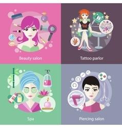 Set of salons beauty tattoo piercing vector