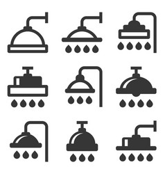 shower icon set on white background vector image vector image