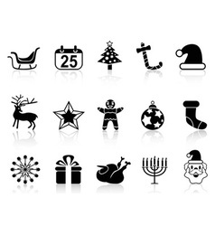 simple black christmas icons set vector image vector image