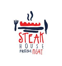 Steak house freash meat logo vintage label in vector