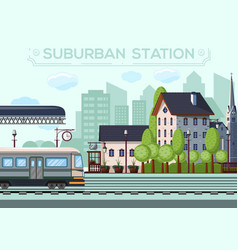 Suburban railway station city life design vector