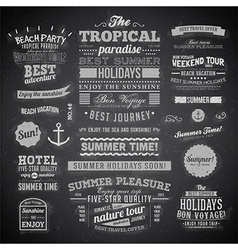 Summer Typography on Chalk Board Background vector image vector image