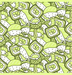 Sushi meal green set seamless pattern vector