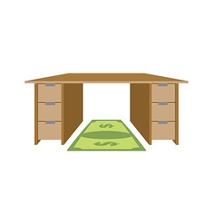 Table and rug dollar Mat under feet of money bill vector image