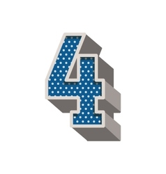 Three-dimensional number four dotted in blue color vector