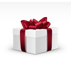 White Gift Box with Red Burgundy Ribbon Isolated vector image