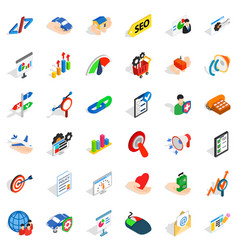 Work career icons set isometric style vector
