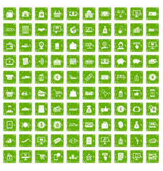 100 payment icons set grunge green vector image vector image