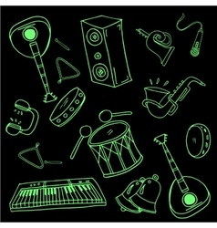 Doodle of music set black green vector
