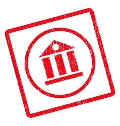 Bank building icon rubber stamp vector