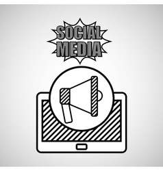 hand drawing megaphone social media mobile vector image