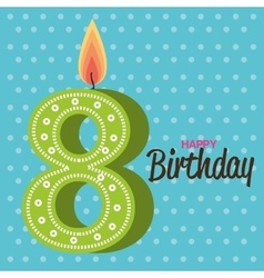 Happy birthday candle number character vector