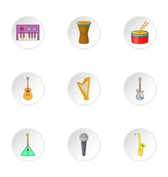 Tools for music icons set cartoon style vector image