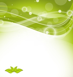 Wavy nature background with green leaves vector